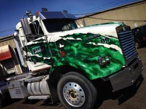 Semi Truck with Green True Fire™ by Mike Lavallee of Killer Paint