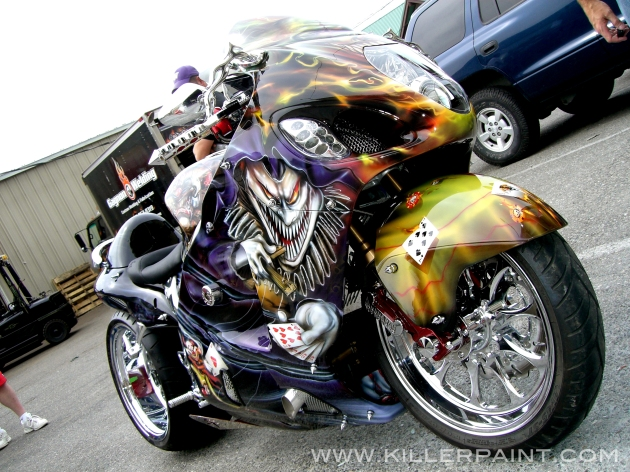 Low Front Angle of Evil Clown Ducati Bike by Mike Lavallee of Killer Paint